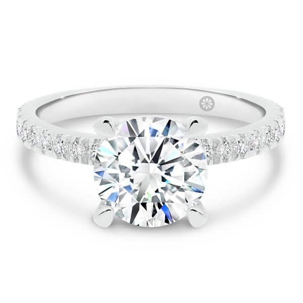 Sylvania Round lab-grown diamond engagement ring with round brilliant centre stone and diamond encrusted band, under rail and prongs
