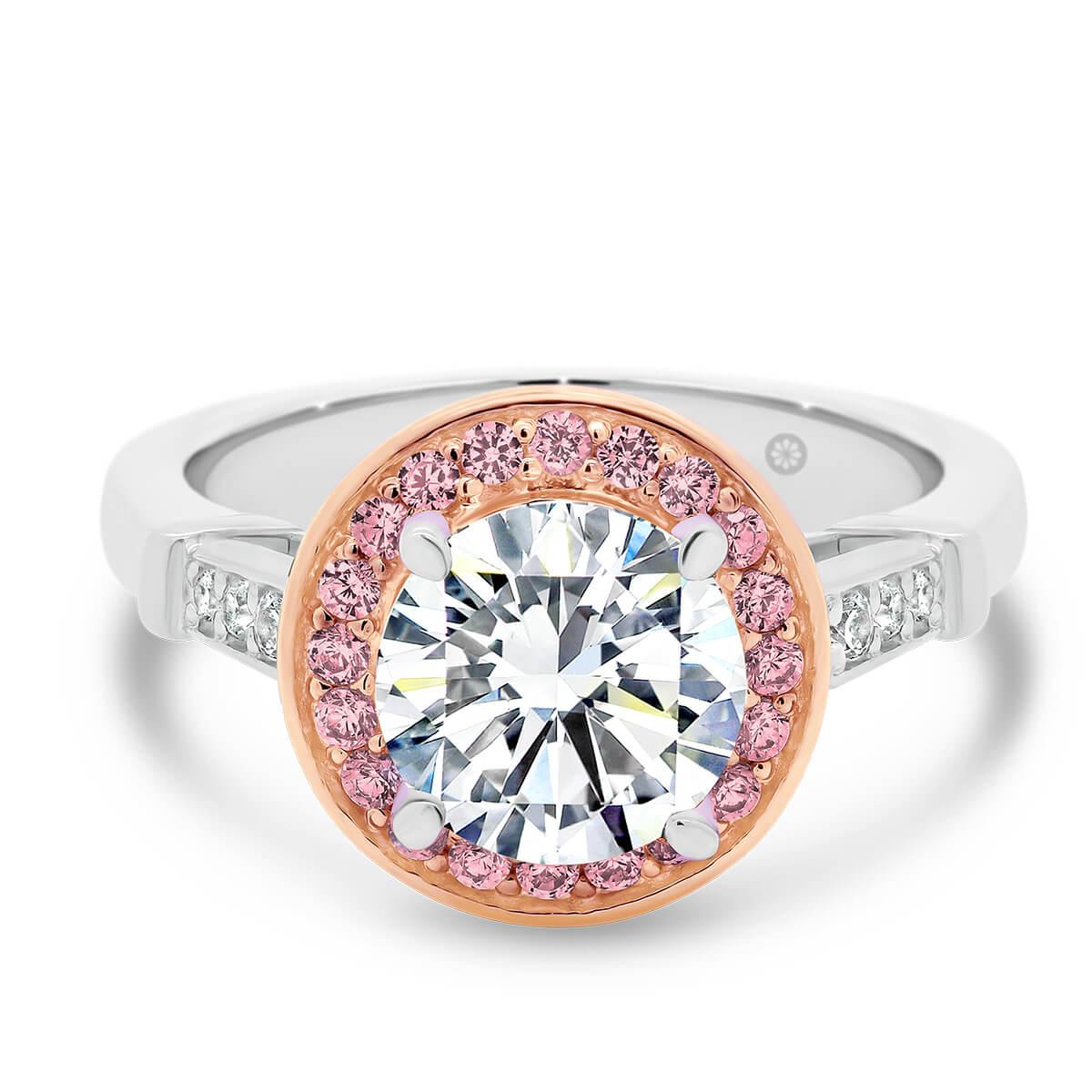 Lab Grown Pink Diamond Engagement Ring Georgia Round Pink Lavana Diamonds