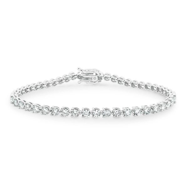Hillier 18K White Gold half row lab-grown diamond line bracelet