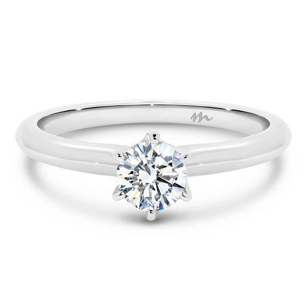 Alessia solitaire Moissanite engagement ring with 6 prong setting and knife edge band