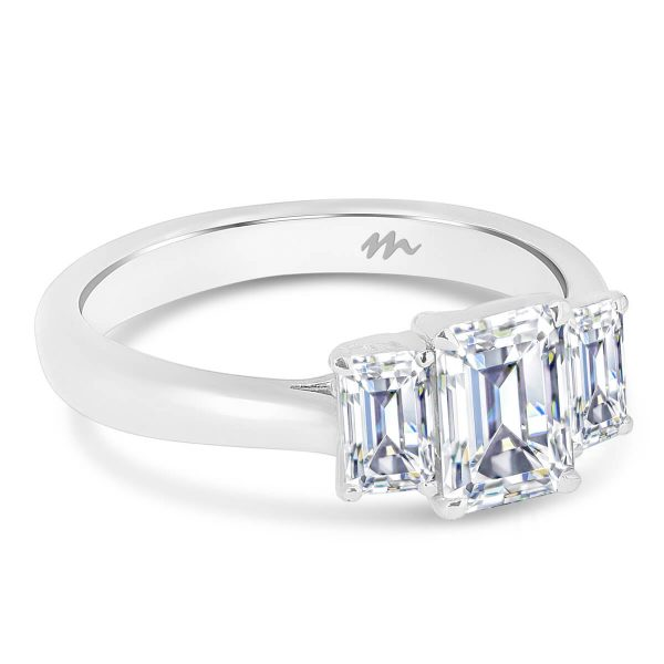 Alexa 3 stone Emerald cut Moissanite engagement ring