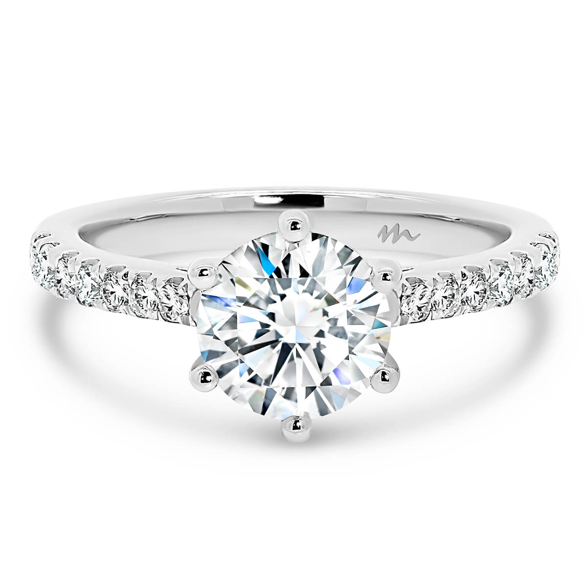 Amy Round Moissanite engagement ring with tapered moissanite band