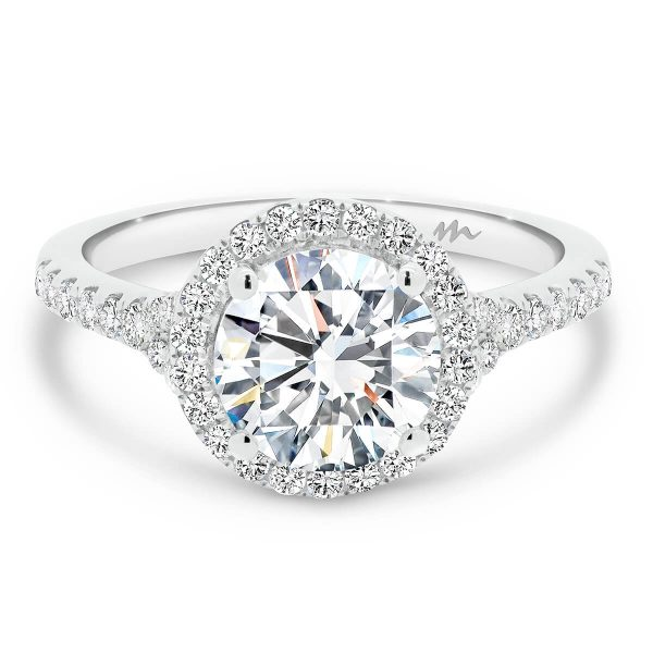 Aria Round 2.00 carat Moissanite halo engagement ring