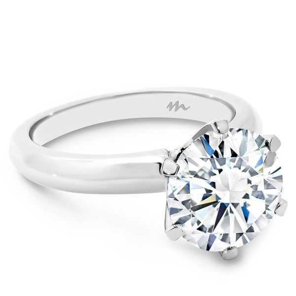 Audrey Moissanite classic knife edge white gold engagement ring