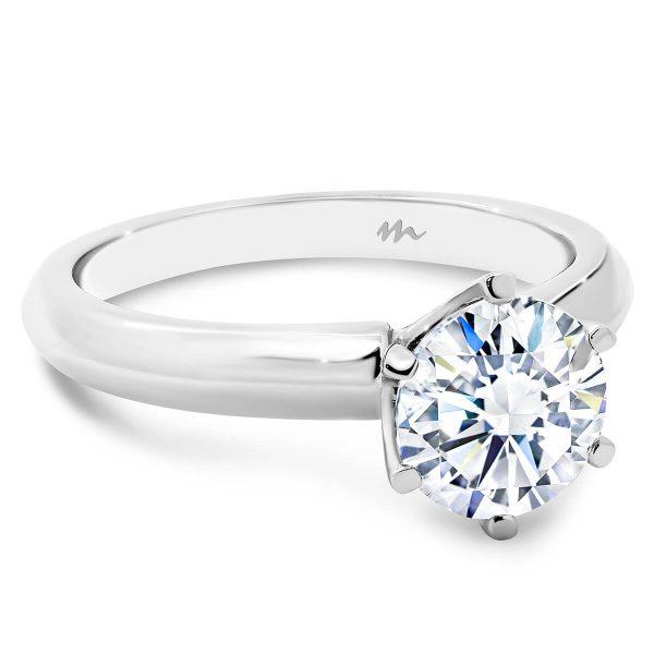 Audrey Round Moissanite knife edge band engagement ring