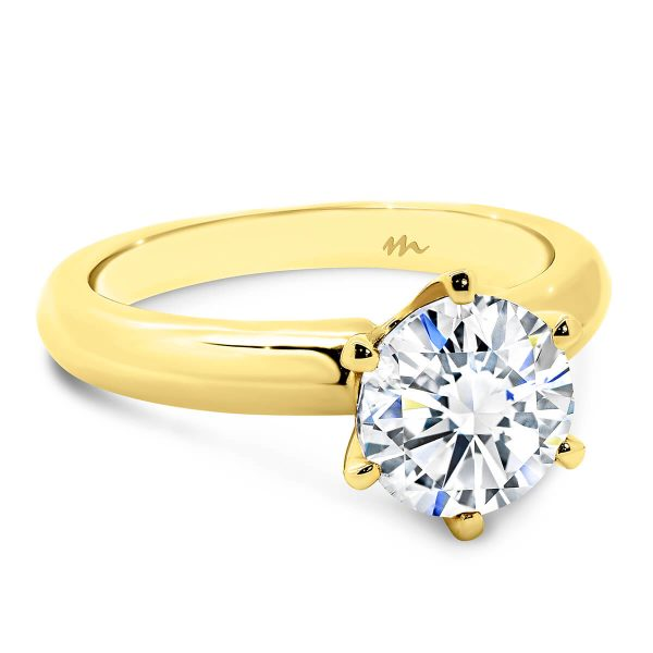 Audrey Round Moissanite knife edge band engagement ring
