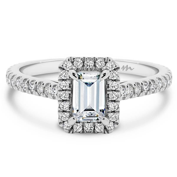 Ava emerald halo design moissanite ring with stone set band
