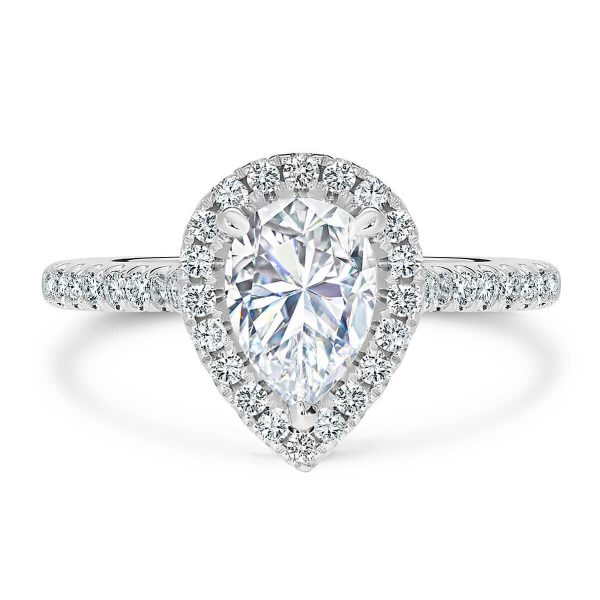 Ava Pear Moissanite halo engagement ring on 3/4 set band