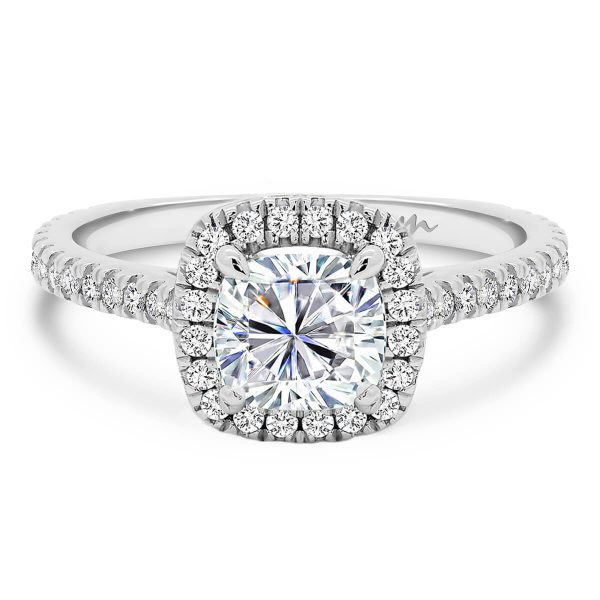 Ava cushion moissanite engagment ring cushion cut centre with halo setting on 3/4 band