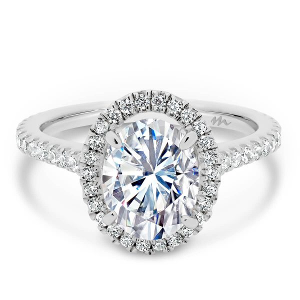 Ava Oval Moissanite halo engagement ring on 3/4 set band