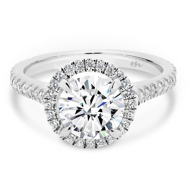 Ava Round Moissanite halo engagement ring on 3/4 set band