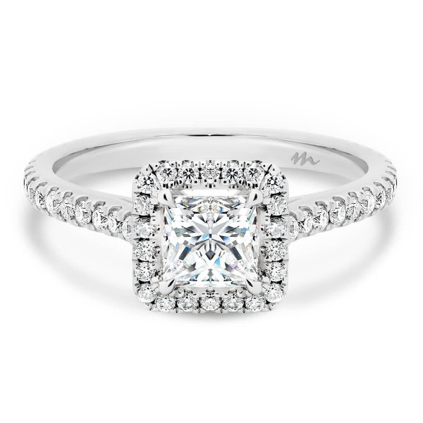 Ava Square princess cut halo engagement ring on with prong set 3/4 band