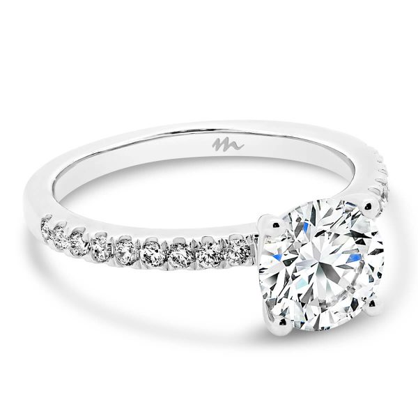 Belle round 1.5 carat Moissanite ring on delicate prong set band