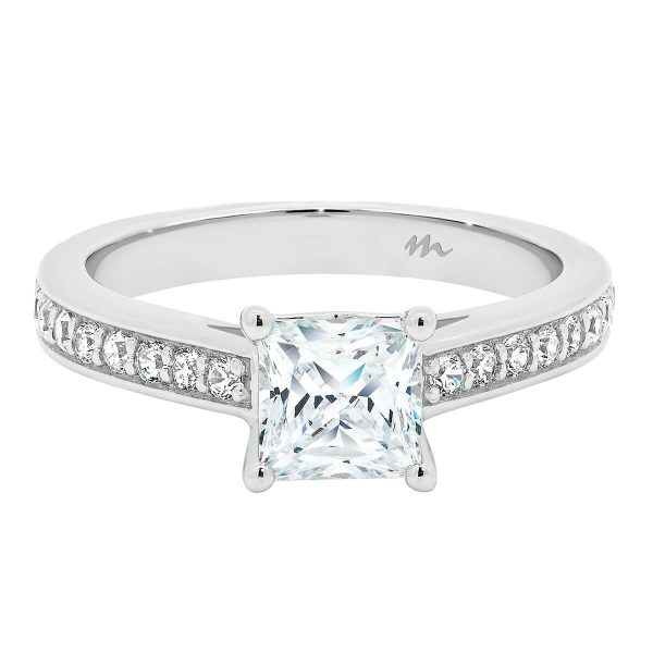 Bianca Square crossover Moissanite ring