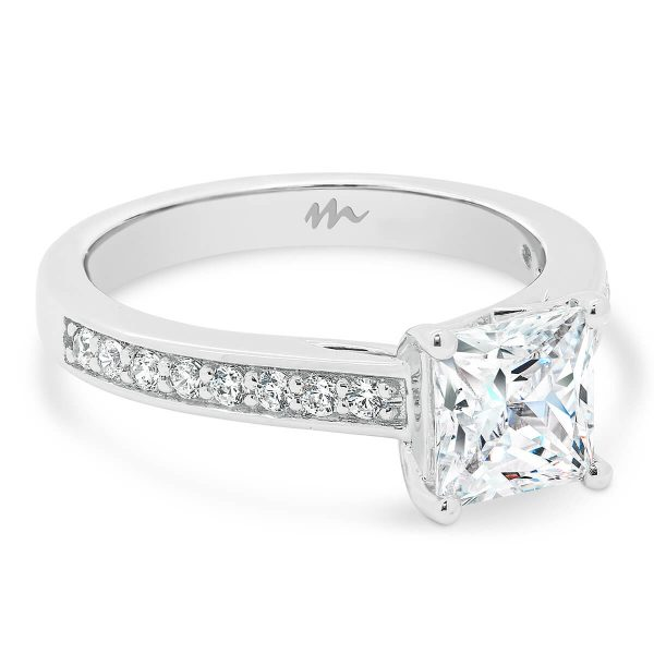 Bianca Square pave set Moissanite ring