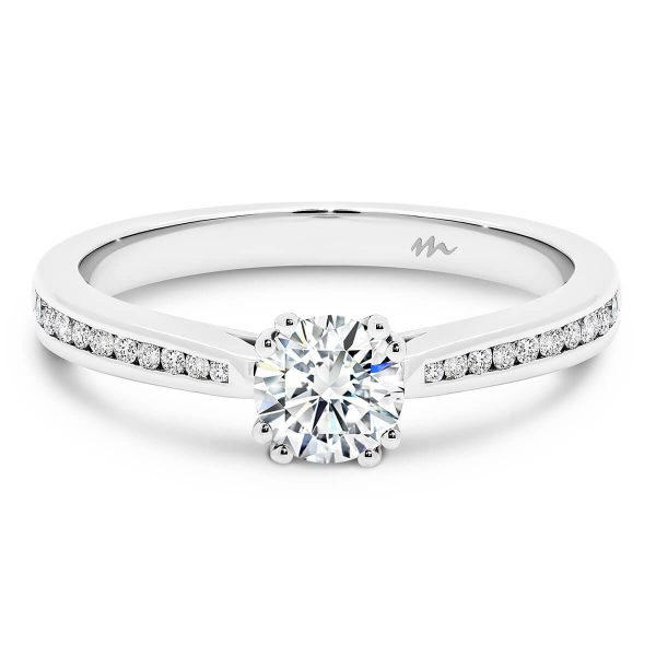 Bronte Moissanite engagement ring with double 4 prong setting on graduating channel set half band