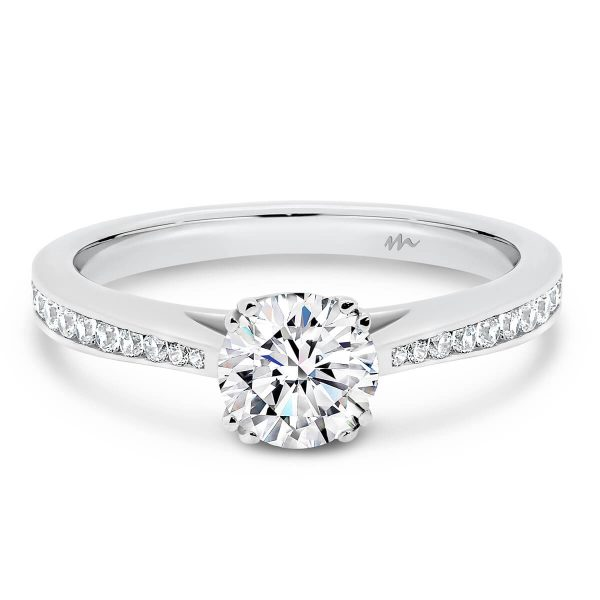 Brynn tapered channel set Moissanite ring