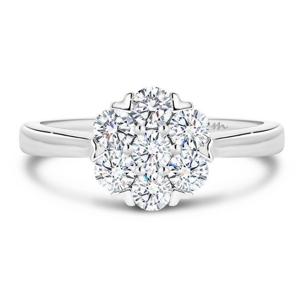 Camelia Moissanite engagement ring floral cluster ring on plain band