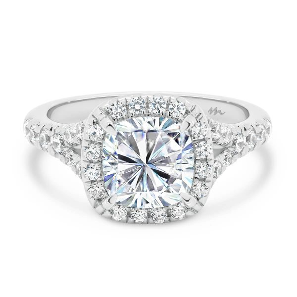 Celine 6.5 cushion Moissanite ring with split shank
