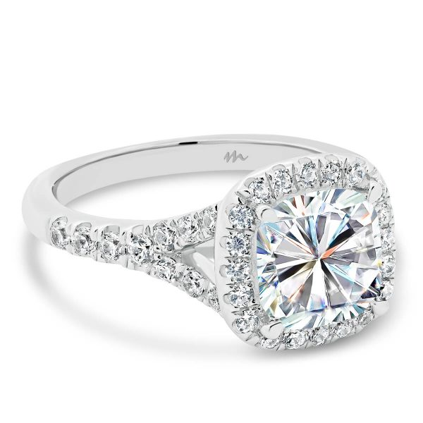 Celine 7.5mm Cushion Moissanite engagement ring with halo