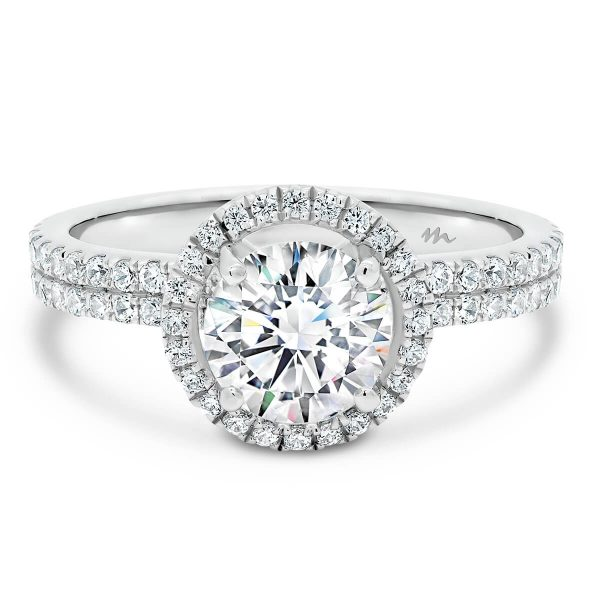 Round Brilliant SUPERNOVA Moissanite ring with double row prong set band