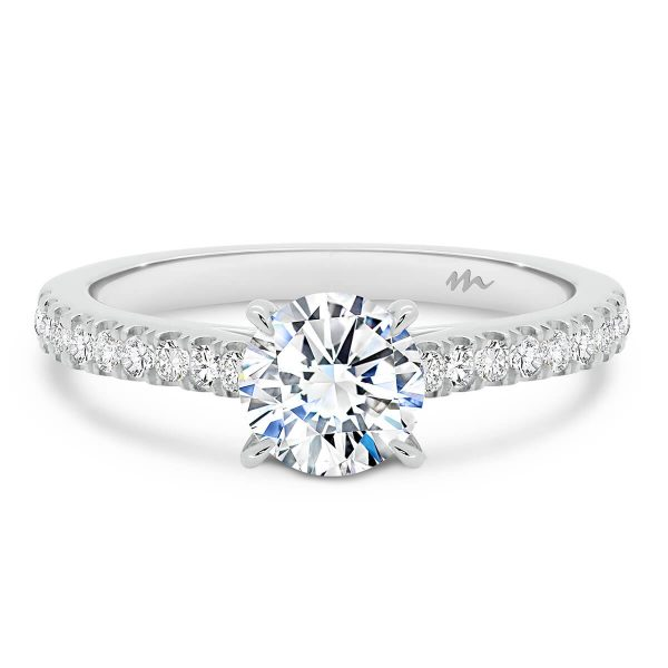 Cindy 4-prong Moissanite engagement ring on encrusted prong set band