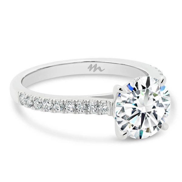 Cindy Round Moissanite engagement ring with u-prong set band