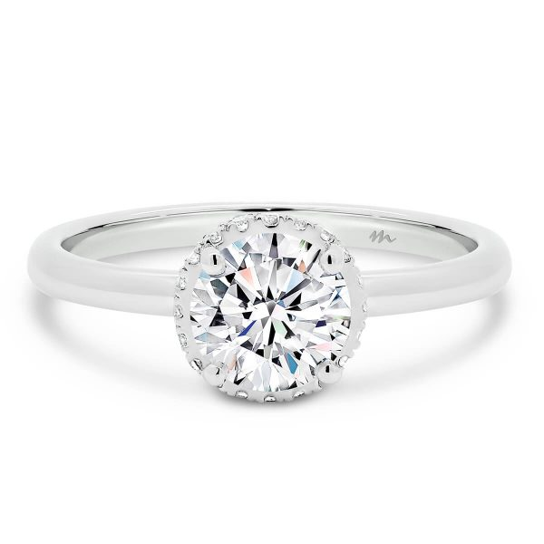 Davine engagement ring with hidden halo on plain band