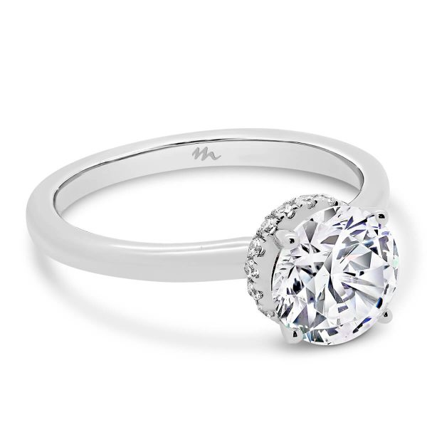Davine Moissanite ring with hidden halo on plain band