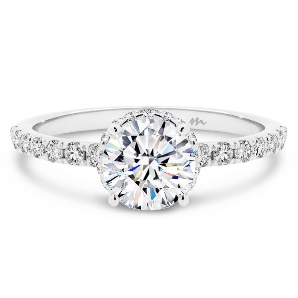 Deanne 6.5 Moissanite round engagement ring with 4-prong setting on delicate encrusted band and hidden halo