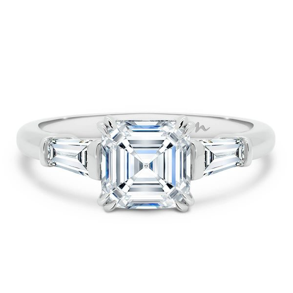 Debbie Asscher asscher cut Moissanite with tapered baguette ring