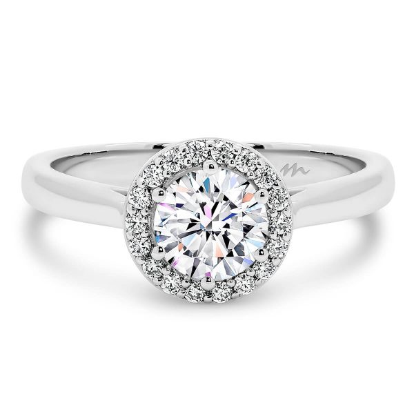Deedee Moissanite engagement ring with pave set halo and plain band