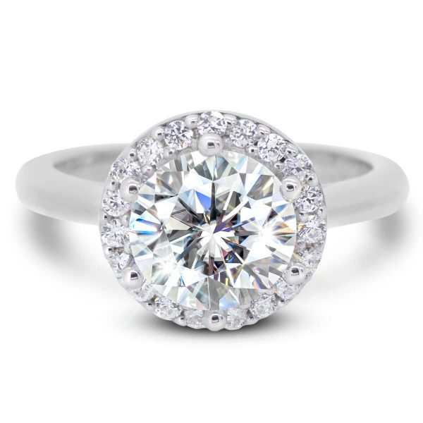Demi Halo engagement ring with a plain band.