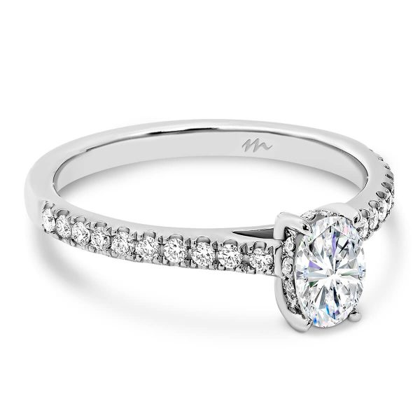 Erin Oval Moissanite engagement ring in Sydney with half band of diamonds