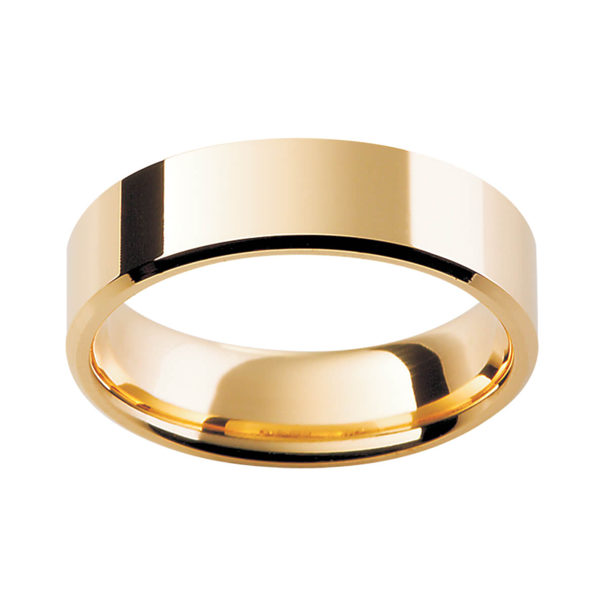 FB men's ring flat band with bevelled edges