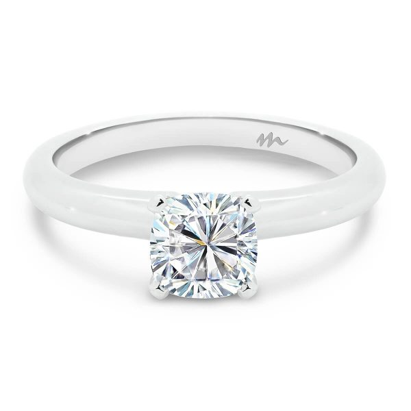 Fiona Cushion 4 prong solitaire engagement ring on rounded band