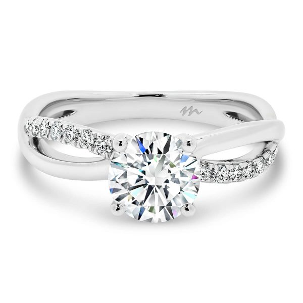Freya Round Moissanite engagement ring with crossover infinity band