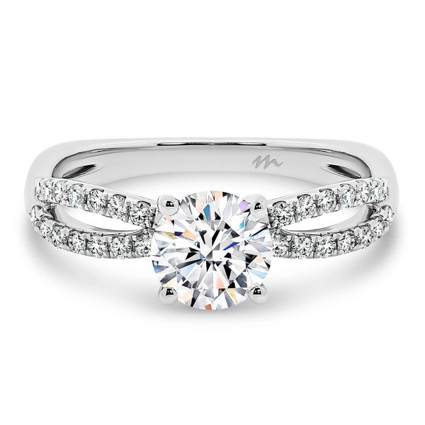 Frida Round 4 Prong Round Moissanite engagement ring with diamond encrusted infinity band