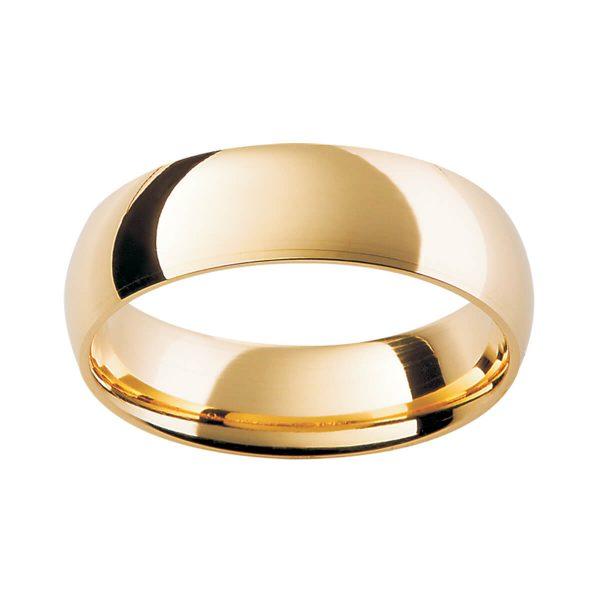 HHR Rounded doom shape plain band in polished gold