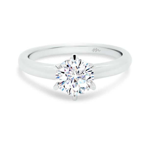 Hazel classic round engagement ring with rounded band
