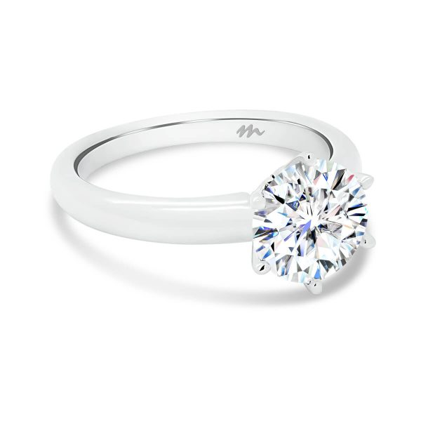 Hazel round Moissanite engagement ring with classic 6 prong setting