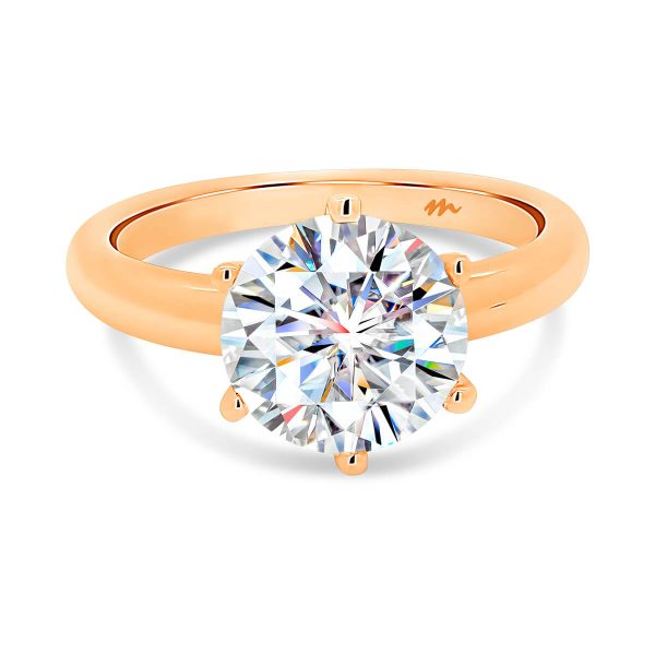 Hazel Moissanite engagement ring round diamond on rounded band
