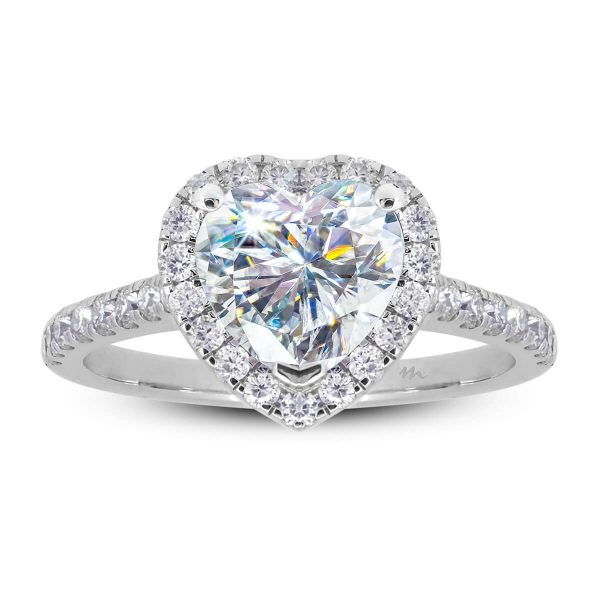 Heart shaped Moissanite ring with a halo on a prong set band