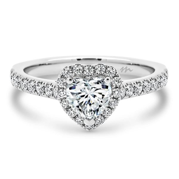 Helena Moissanite engagement ring with heart shaped centre stone and prong set halo and band