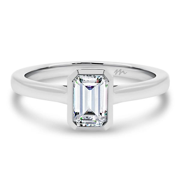 Imogen Emerald' Moissanite engagement ring 0.50 to 1.20 carat Emerald cut in bezel setting with plain band