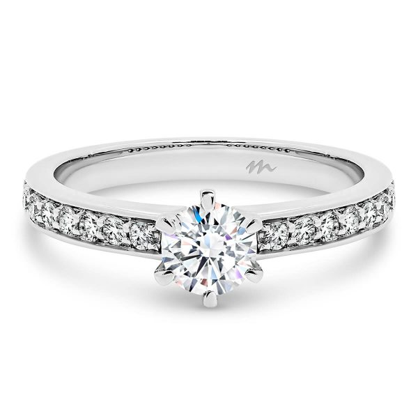 Ingrid Moissanite engagement ring with traditional 6 prong setting on pave set 9K Gold half band