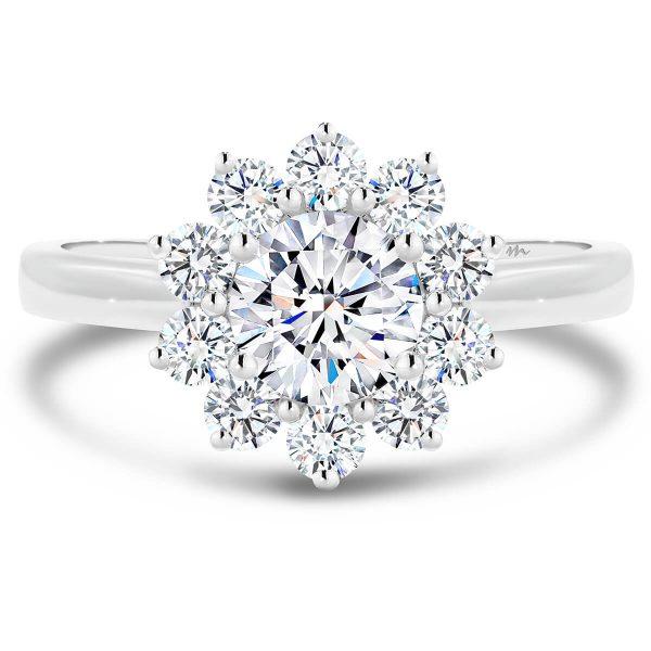 Jacinta Moissanite engagement ring floral halo band