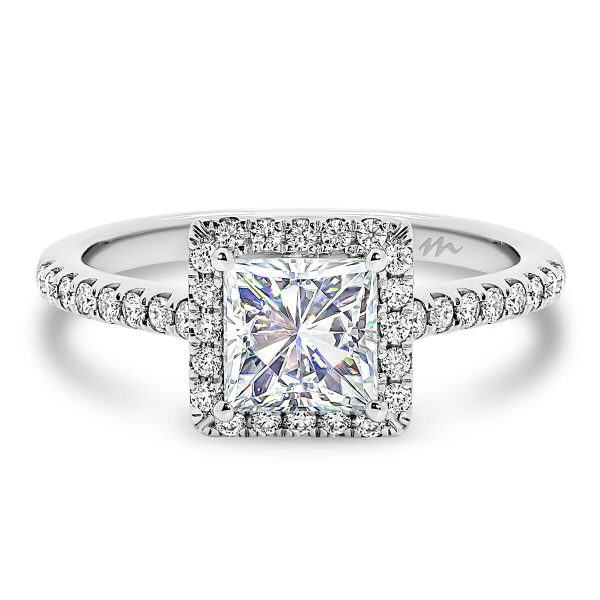 Jackie Square Moissanite engagement ring princess cut centre with prong set halo and band with cathedral setting