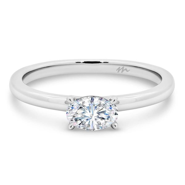 Jolie Oval solitaire Moissanite engagement ring with East-West stone on fine plain band