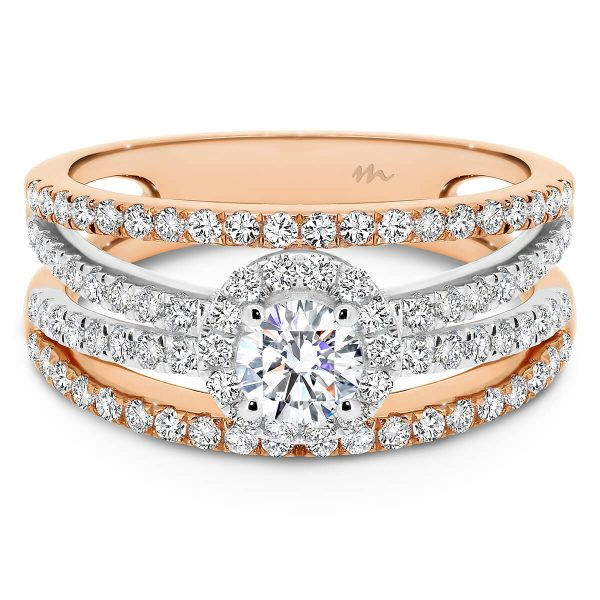 Jude two-tone ring with halo round centre stone on multiple stone set band